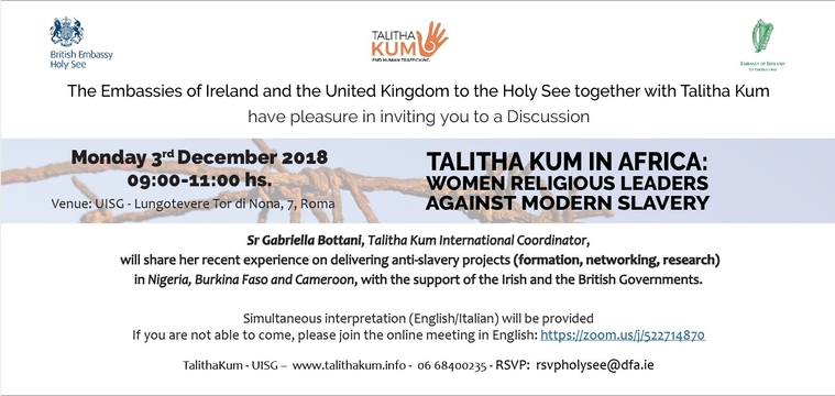 TALITHA KUM IN AFRICA: Women Religious leaders against modern slavery